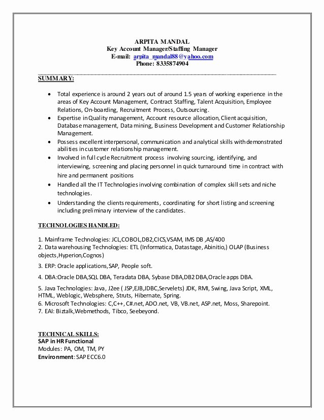 Key Account Manager Resume New Resume New