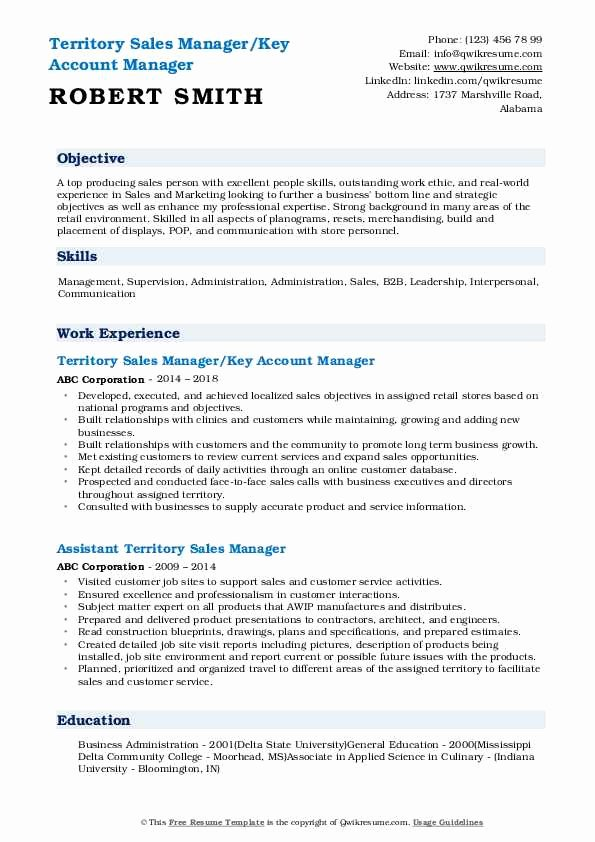 Key Account Manager Resume Unique Territory Sales Manager Resume Samples