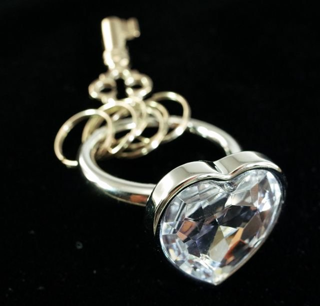 Key Shaped Key Holder Beautiful Key Chain Key Ring Key Holder Heart Shaped Clear Gem Stone