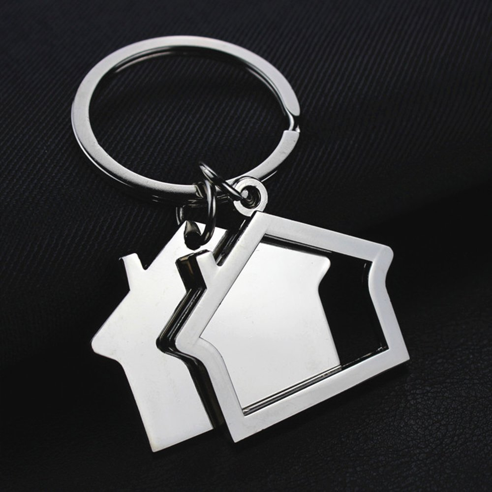 Key Shaped Key Holder Unique 2pcs 2018 New Novelty House Shaped Zinc Alloy Key Ring Key