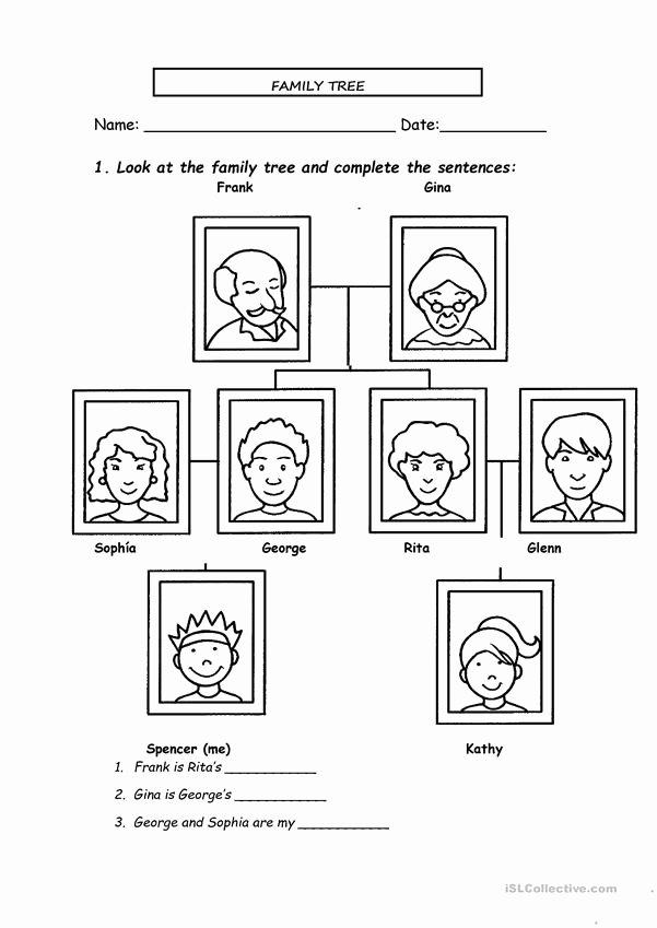 Kindergarten Family Tree Template Beautiful Family Tree English Esl Worksheets