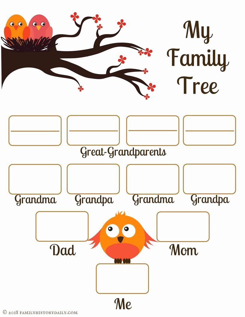 Kindergarten Family Tree Template Elegant 4 Free Family Tree Templates for Genealogy Craft or