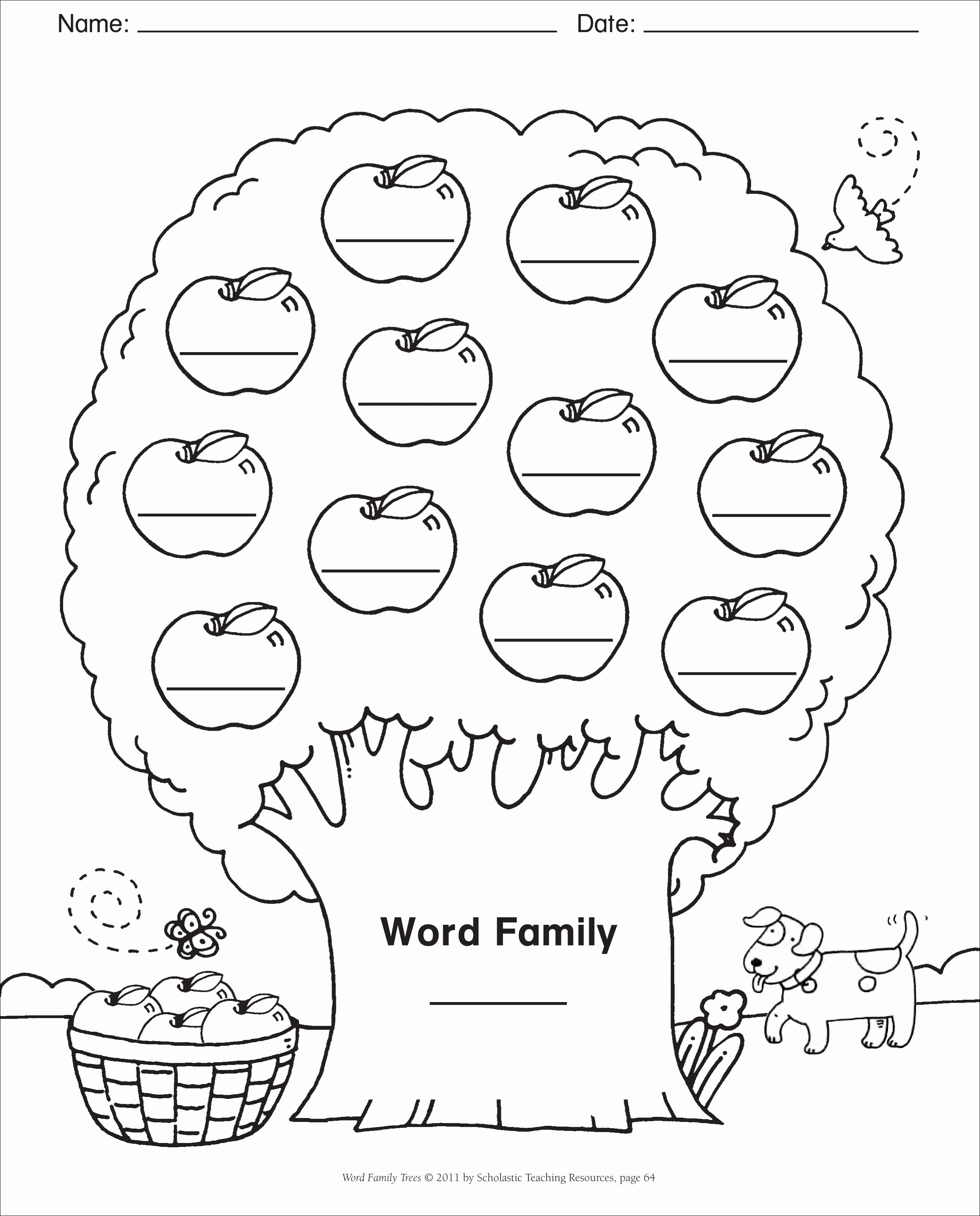 Kindergarten Family Tree Template Unique Word Family Template