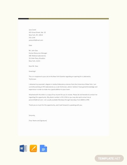 Lab Technician Cover Letter Awesome 66 Free Cover Letter Templates