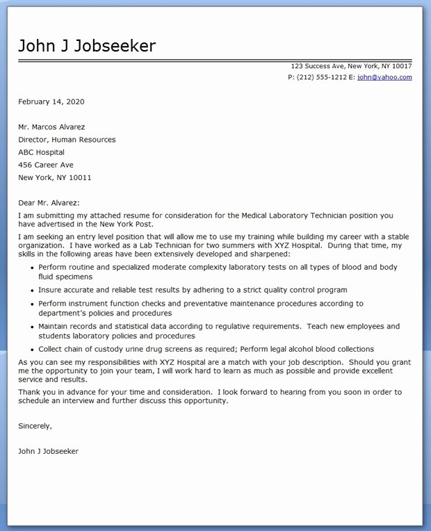 Lab Technician Cover Letter Best Of Cover Letter Medical Laboratory Technician