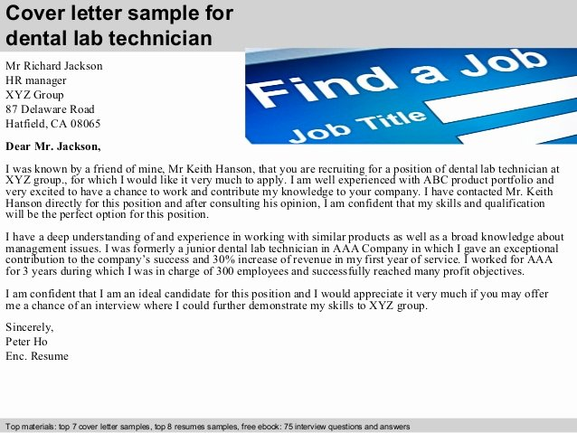 Lab Technician Cover Letter Best Of Dental Lab Technician Cover Letter
