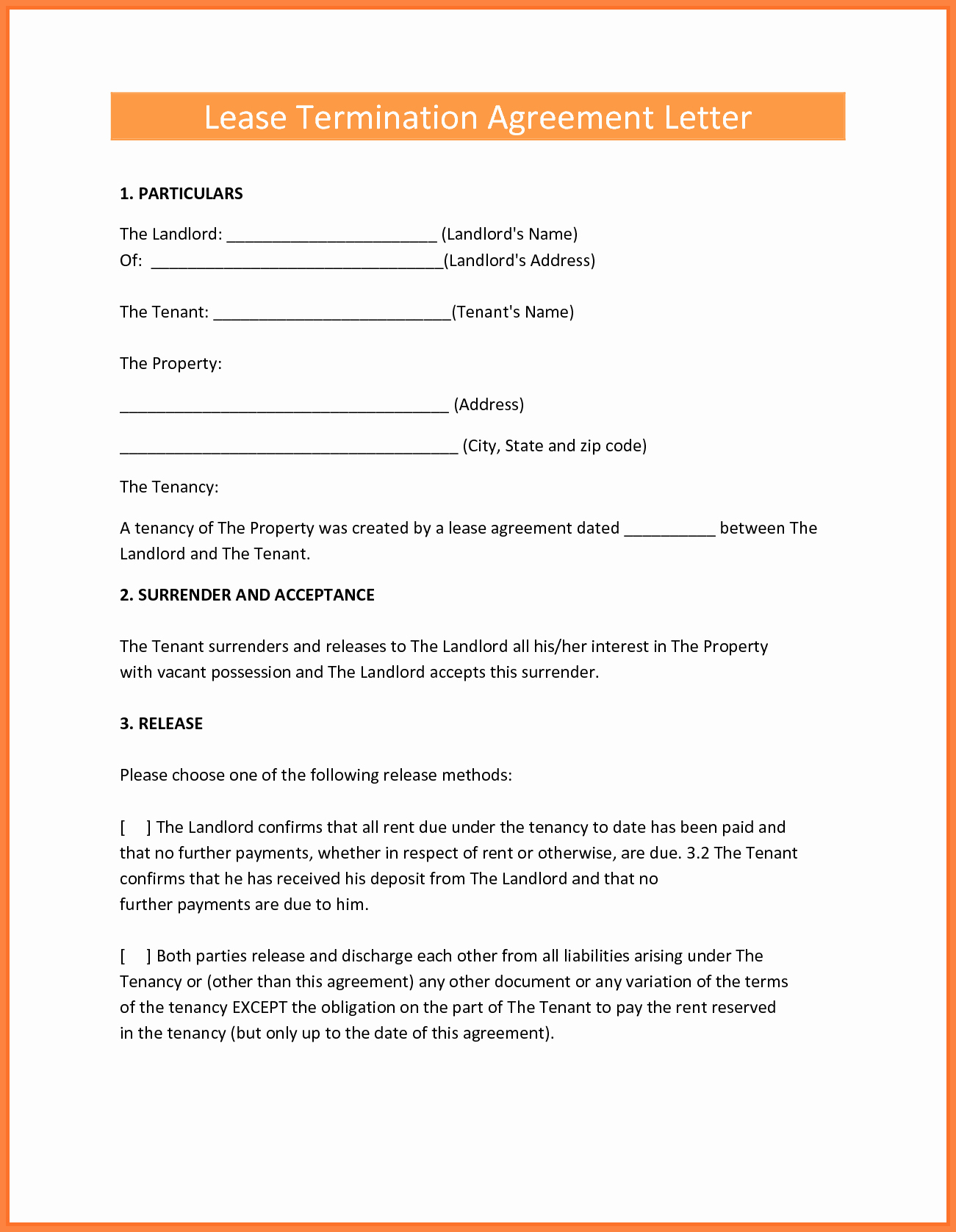 Landlord Lease Termination Letter Awesome 8 Termination Of Rental Agreement Letter by Tenant