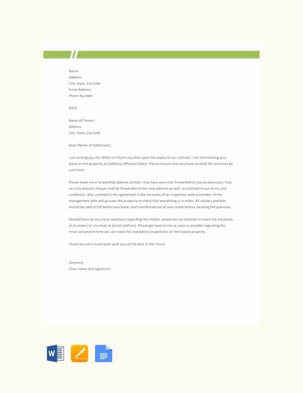 Landlord Lease Termination Letter Lovely 7 Sample Landlord Lease Termination Letters Pdf Word