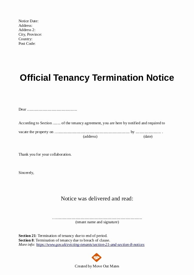 Landlord Lease Termination Letter Lovely End Of Tenancy Letter Template From Landlord to Tenant