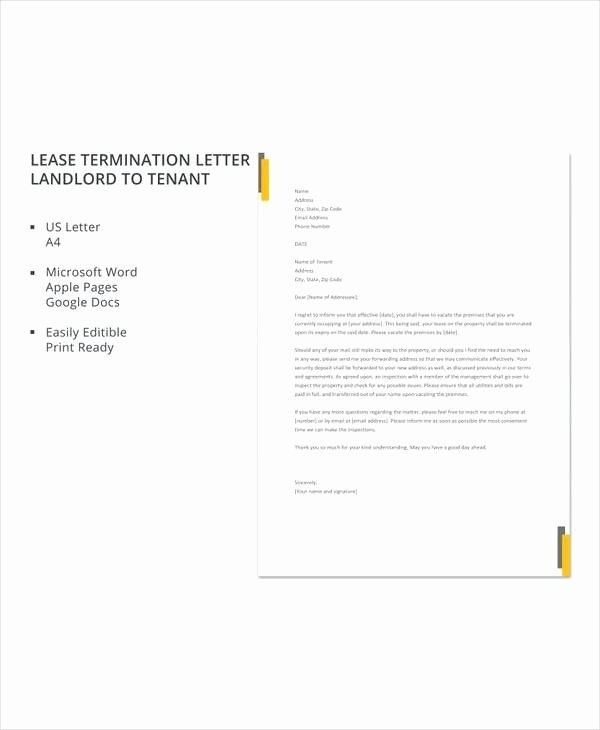 Landlord Lease Termination Letter Unique 7 Sample Landlord Lease Termination Letters – Pdf Word