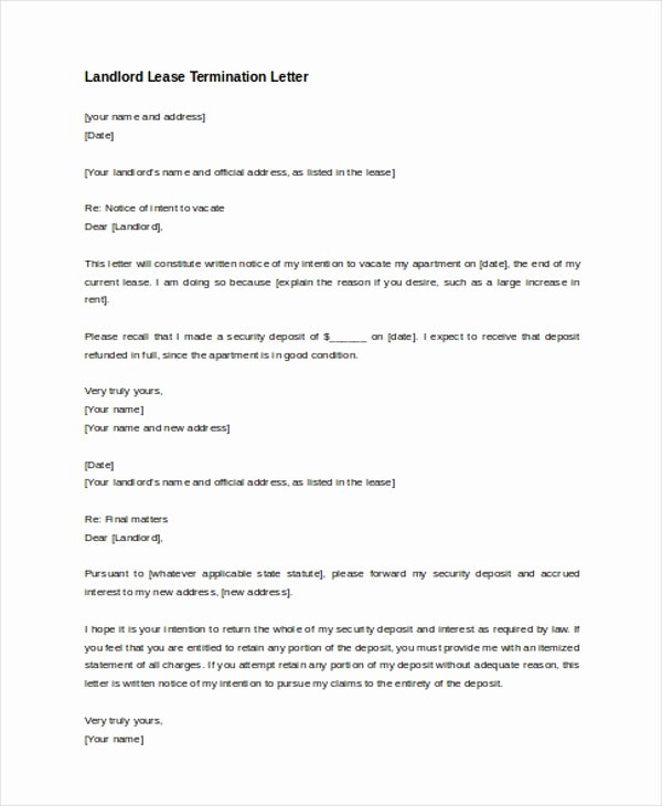 Landlord Lease Termination Letter Unique Free 8 Sample Lease Termination Letters In Pdf