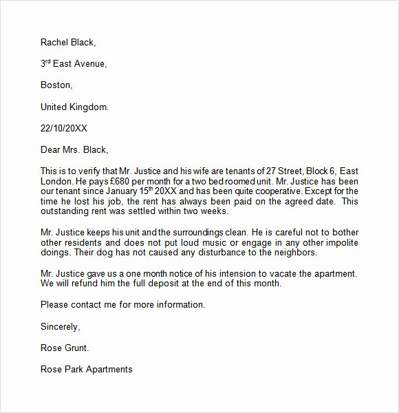 Landlord Letter Of Recommendation Fresh Landlord Reference Letter Template 8 Download Free