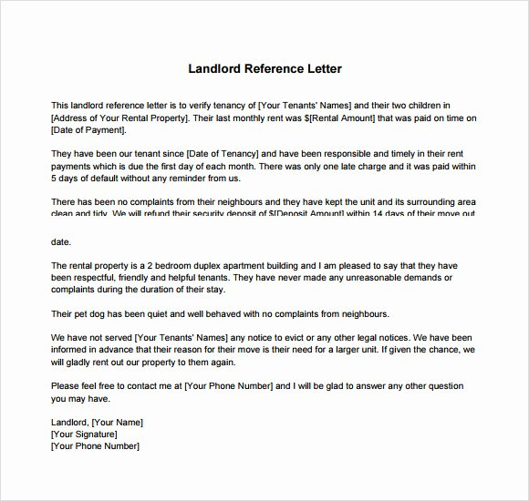 Landlord Letter Of Recommendation New Landlord Reference Letter Template 8 Download Free