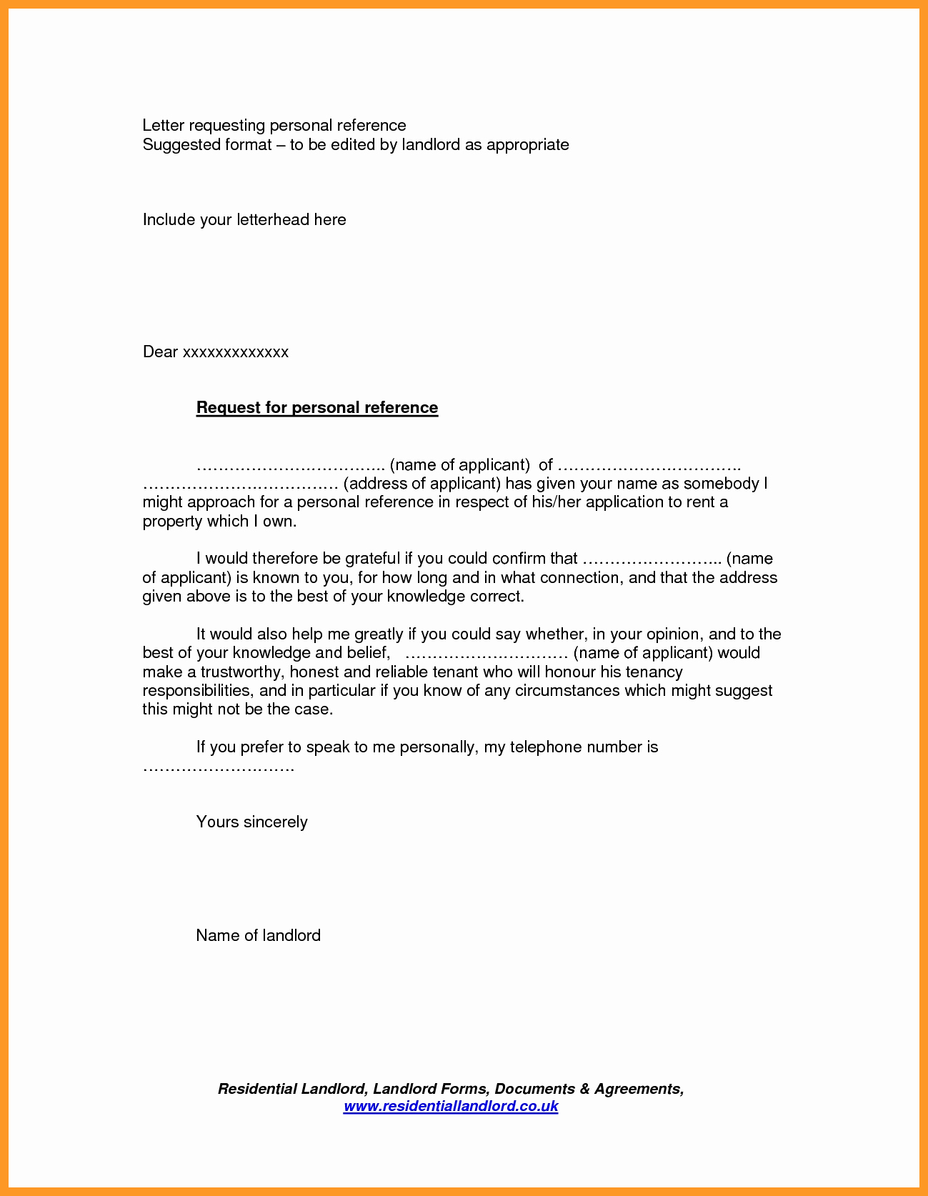 Landlord Letter Of Recommendation Unique 12 13 Tenancy Reference Letter Sample