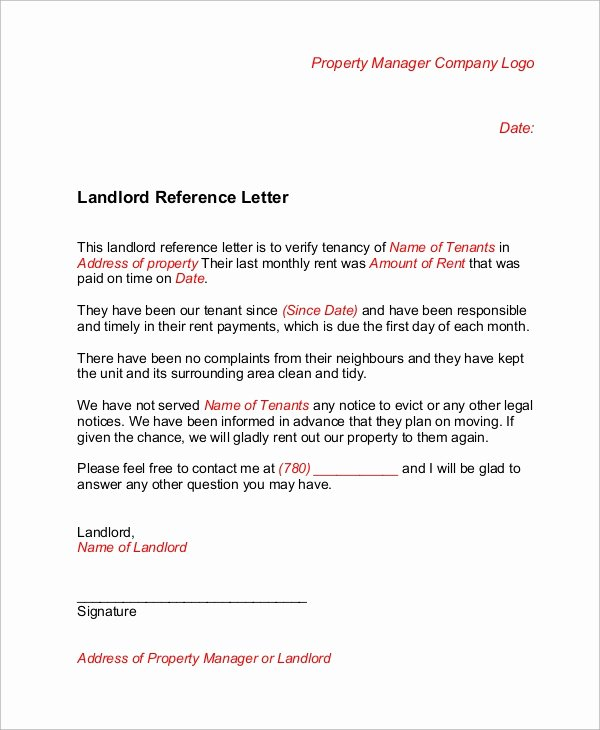 Landlord Letter Of Recommendation Unique Sample Landlord Reference Letter 6 Examples In Word Pdf