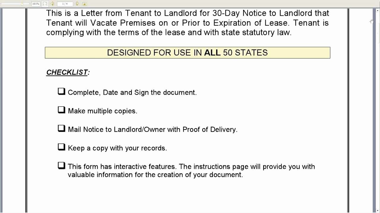 Landlord Letter to Vacate Awesome 30 Day Notice to Landlord that Tenant Will Vacate Premises