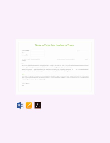 Landlord Notice to Vacate Premises New 20 Notice to Vacate Templates Pdf Google Docs Ms Word