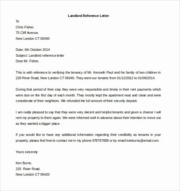 Landlord Reference Letter Awesome Free Reference Letter Templates 24 Free Word Pdf