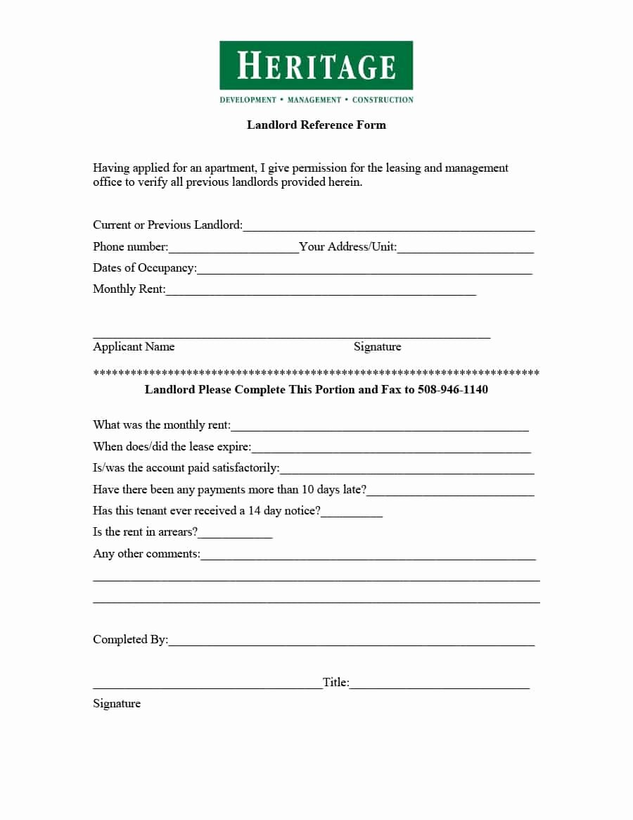 Landlord Reference Letter Fresh 40 Landlord Reference Letters & form Samples Template Lab
