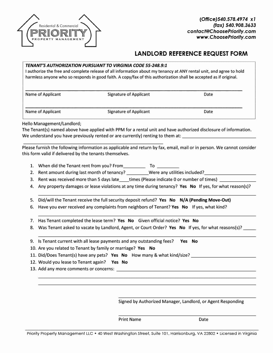 Landlord Reference Letter Unique 40 Landlord Reference Letters & form Samples Template Lab