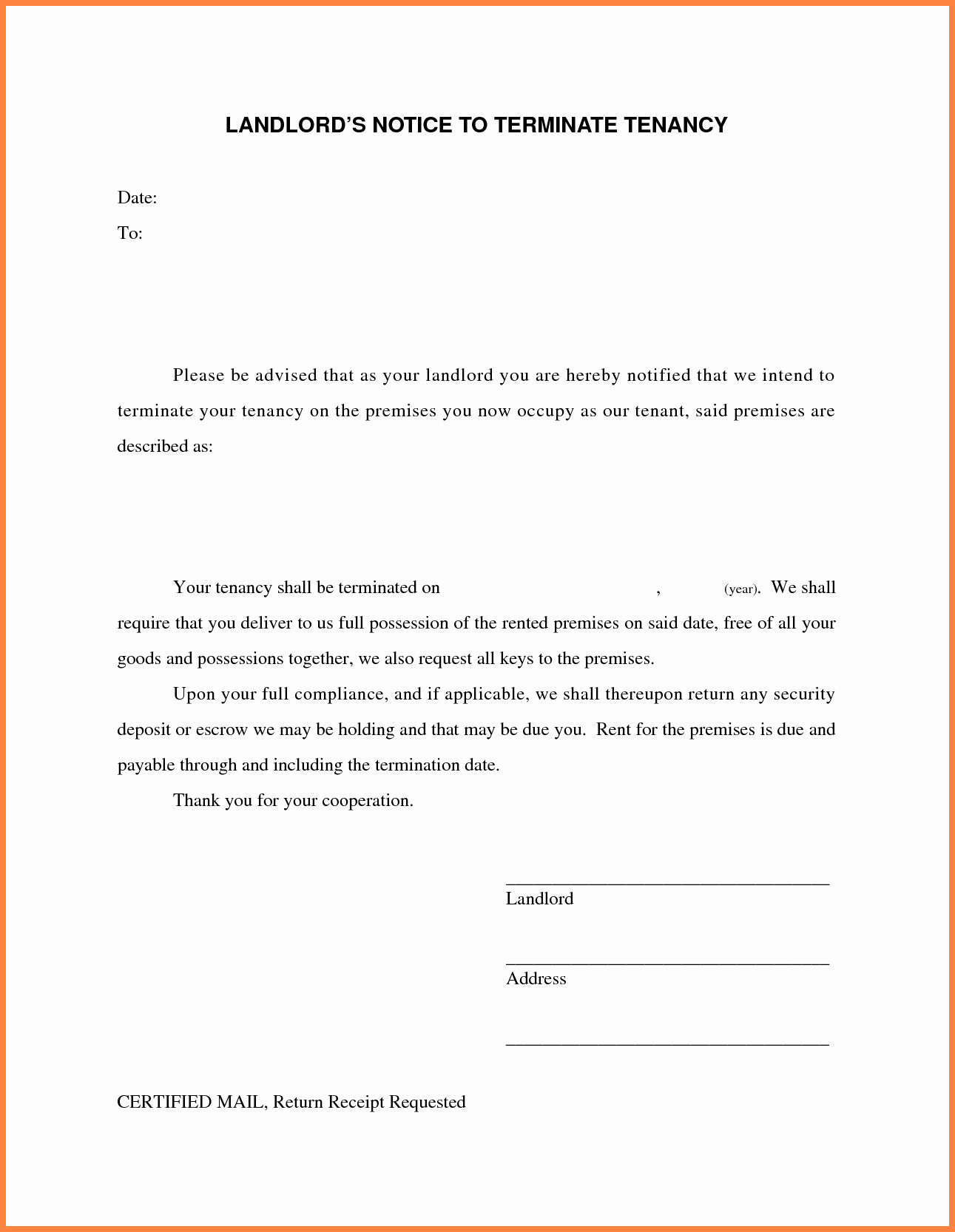 Landlord to Tenant Sample Letters Awesome 7 Landlord Tenant Agreement to Terminate Lease