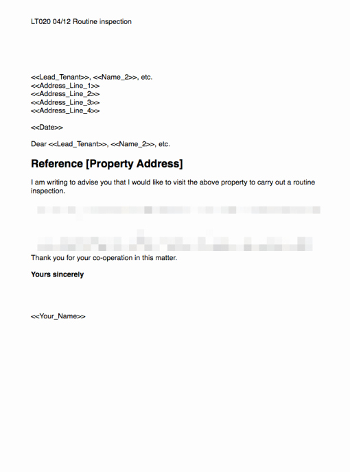 Landlord to Tenant Sample Letters Beautiful Routine Inspection Template