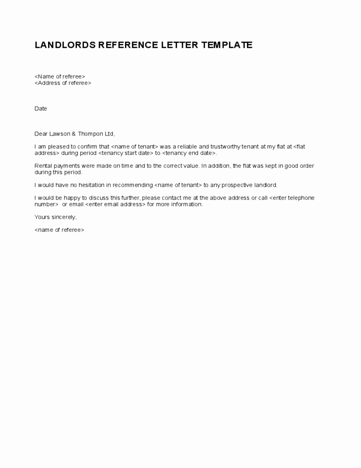 Landlord to Tenant Sample Letters Best Of Simple Landlord Reference Letter Template