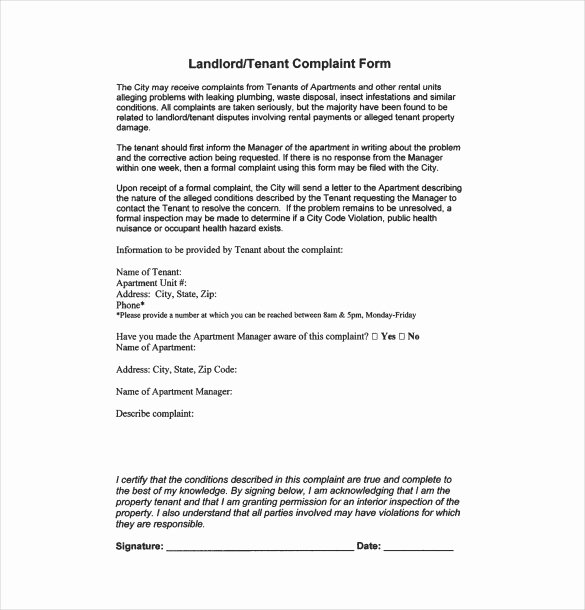 Landlord to Tenant Sample Letters Fresh Plaint Letter to Landlord – 8 Free Word Pdf Documents