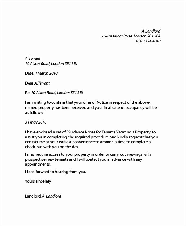 Landlord to Tenant Sample Letters Lovely Landlord Reference Letter
