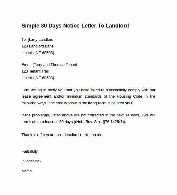 Landlord to Tenant Sample Letters New 10 Sample 30 Days Notice Letters to Landlord In Word