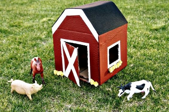 Large Farm Animal Cutouts Awesome Diy Cardboard Box Miniature Play Barn
