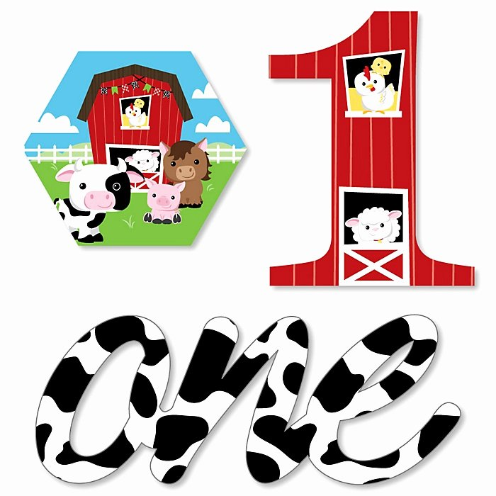 Large Farm Animal Cutouts Lovely 1st Birthday Farm Animals Diy Shaped Barnyard First