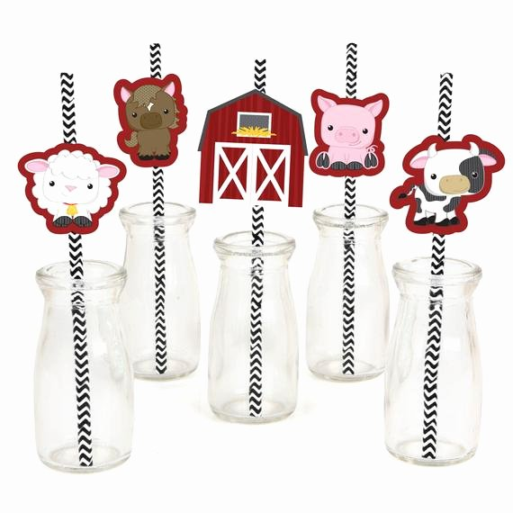 Large Farm Animal Cutouts New Farm Animals Die Cut Straw Decorations Baby Shower or
