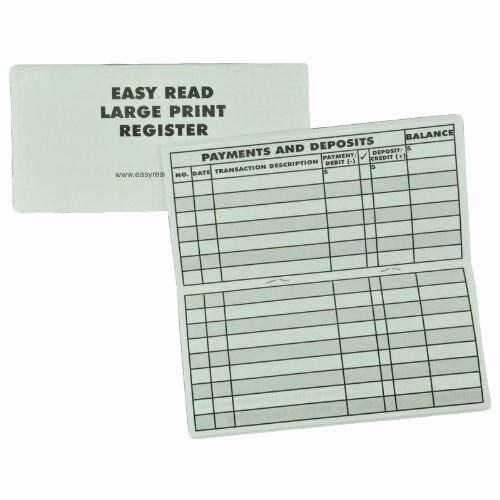 Large Print Check Register Printable Best Of New Low Vision Large Print Checkbook Register