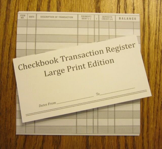 Large Print Check Register Printable Elegant 10 Easy to Read Checkbook Transaction Register Print