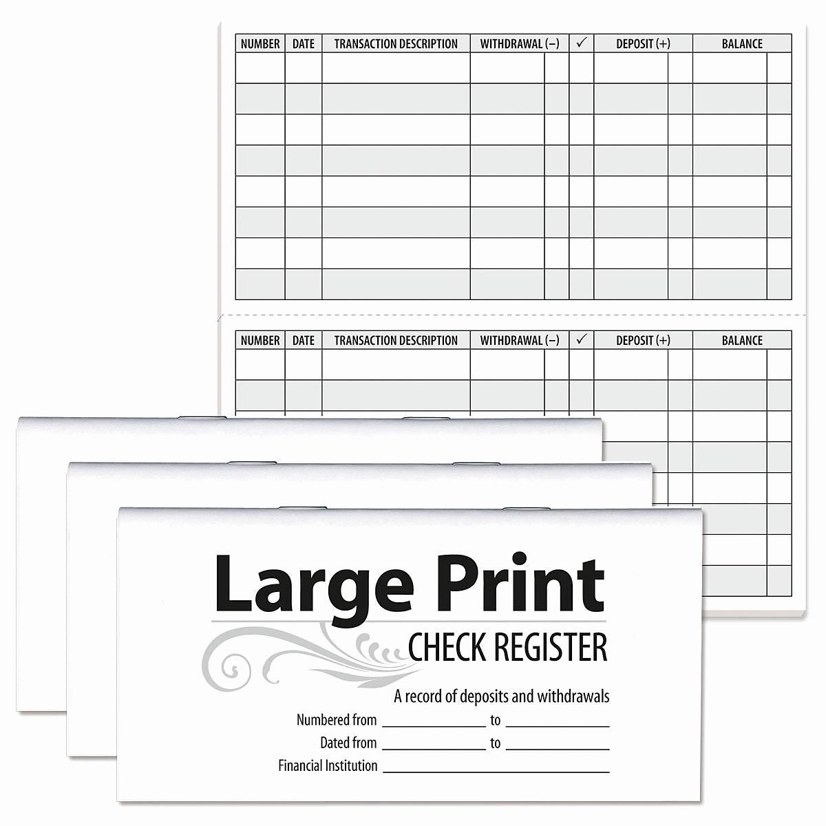 Large Print Check Register Printable Elegant Print Check Registers