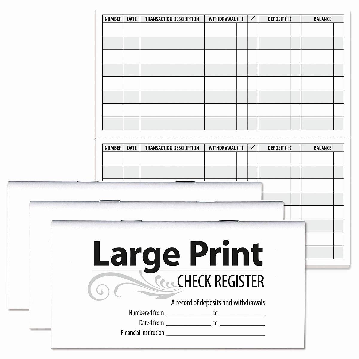 Large Print Check Register Printable Elegant Print Check Registers