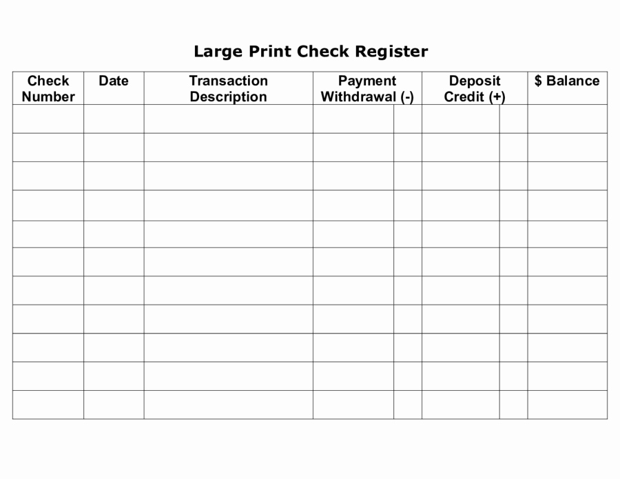 Large Print Check Register Printable Inspirational 2019 Checkbook Register Fillable Printable Pdf & forms