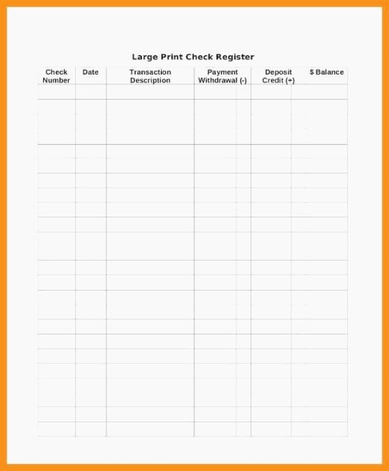 Large Print Check Register Printable Inspirational top Challenger Checkbook Log Printable