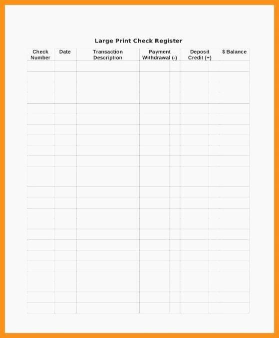 Large Print Check Register Printable Lovely top Challenger Checkbook Log Printable