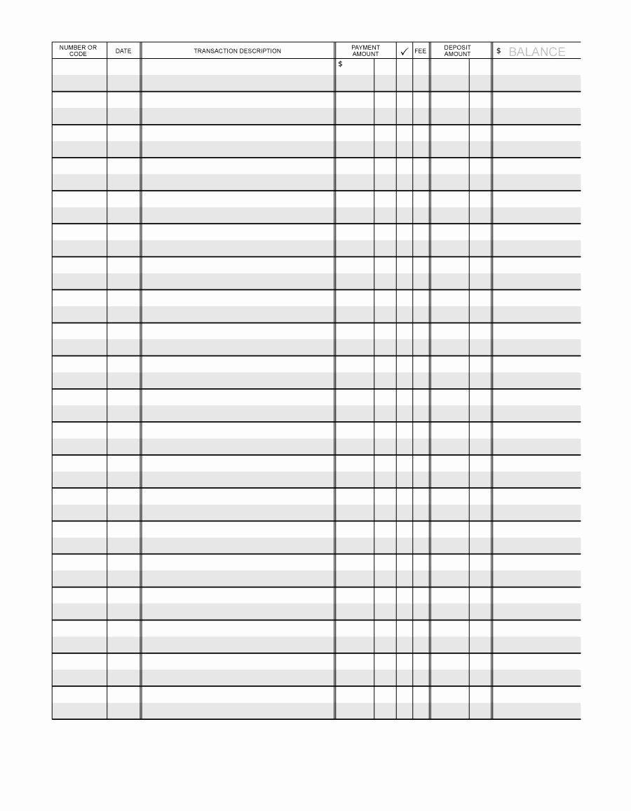 Large Print Check Register Printable Luxury 37 Checkbook Register Templates [ Free Printable