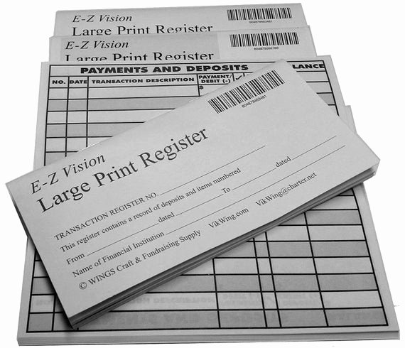 Large Print Check Register Printable New 100 Print Checkbook Register Low Vision Registers with