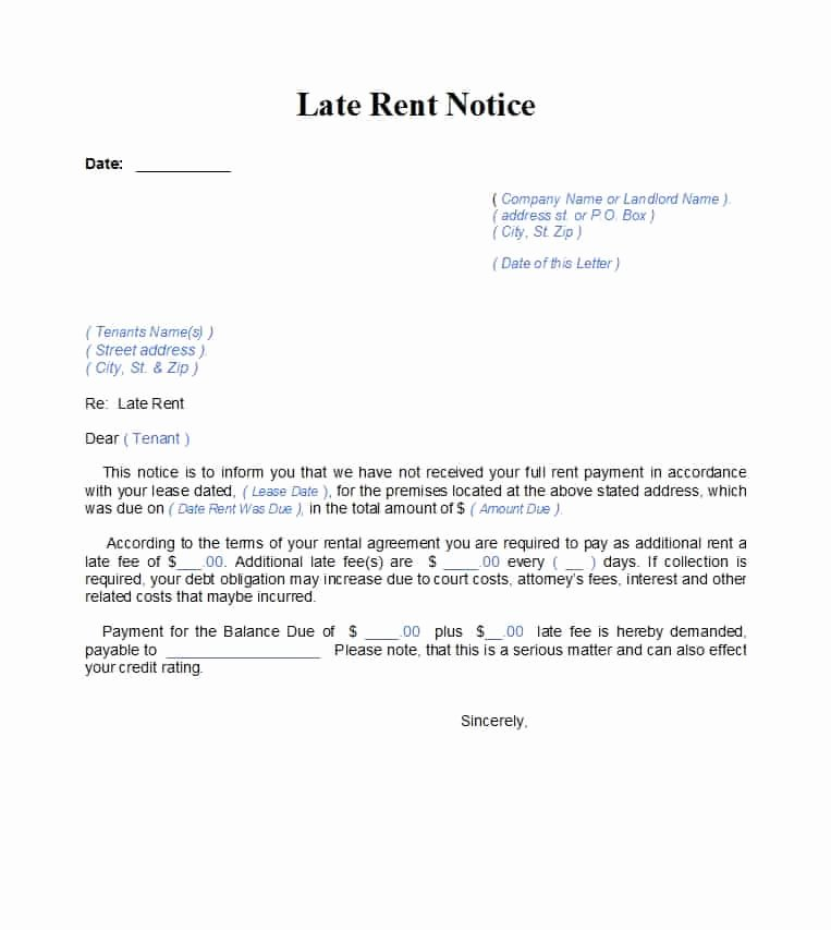 Late Payment Notice Template Best Of 34 Printable Late Rent Notice Templates Template Lab