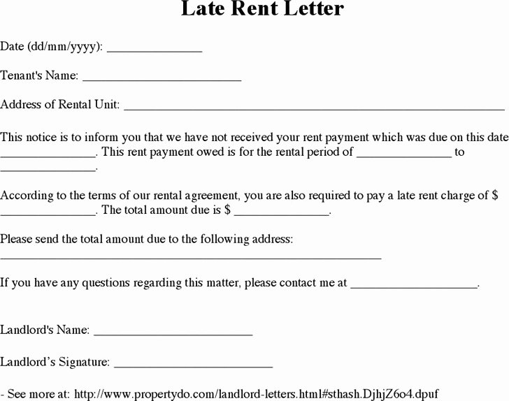 Late Payment Notice Template Lovely Late Rent Notice Template