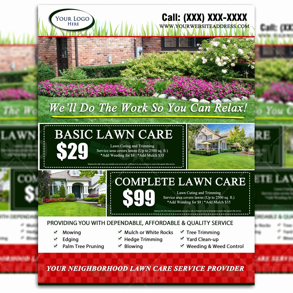 Lawn Service Flyer Template Lovely Lawn Care Flyer Design 2 – the Lawn Market