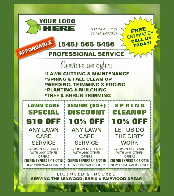 Lawn Service Flyer Template New 19 Coupon Flyer Templates Psd Indesign