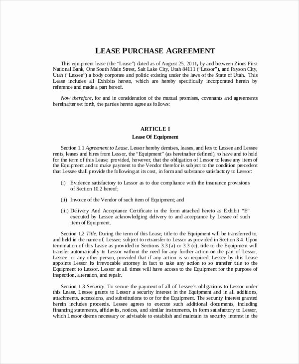 Lease Purchase Agreement Beautiful 9 Lease Purchase Agreement Word Pdf Google Docs