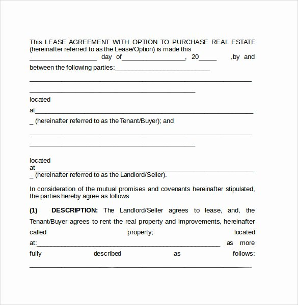 Lease Purchase Agreement Beautiful Sample Lease Purchase Agreement 8 Free Documents In Pdf