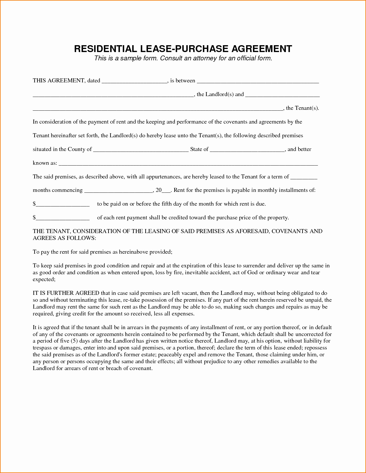 Lease Purchase Agreement Elegant 8 Example Lease Agreement