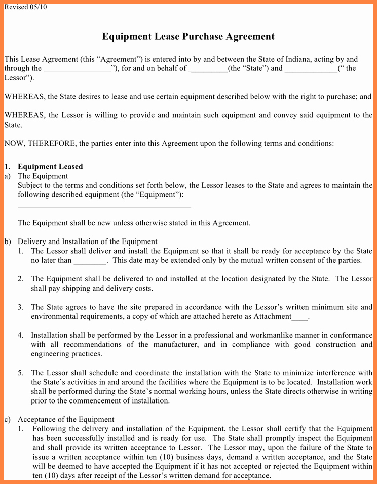 Lease Purchase Agreement Luxury 6 Equipment Lease Purchase Agreement form